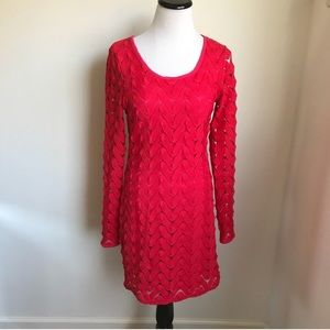 ✖️Free People Red Lace Long Sleeve Knit Dress